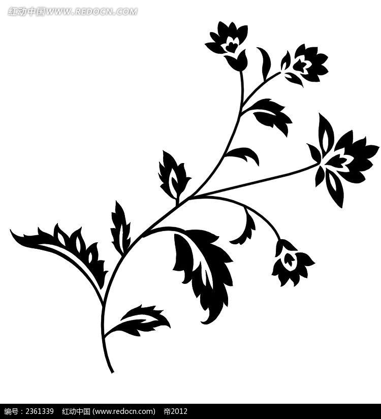 家居装饰素材  复古风 手绘花纹 墙绘花纹 黑白花纹素材 简单黑白花纹