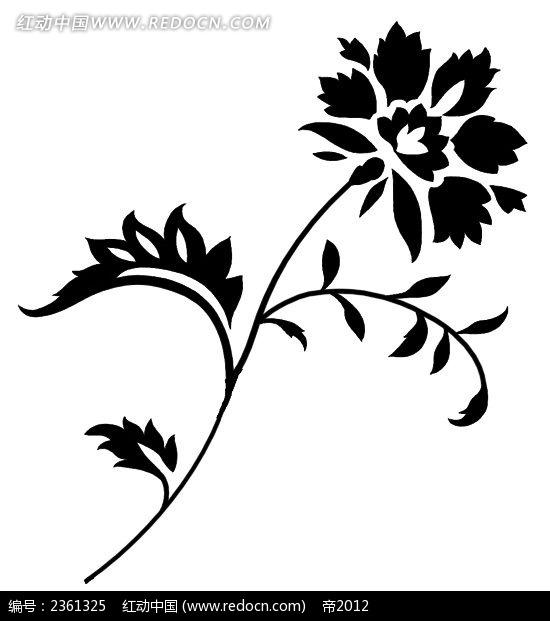 空间植物手绘黑白
