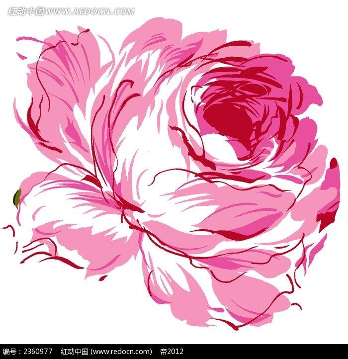 粉红色手绘抽象玫瑰