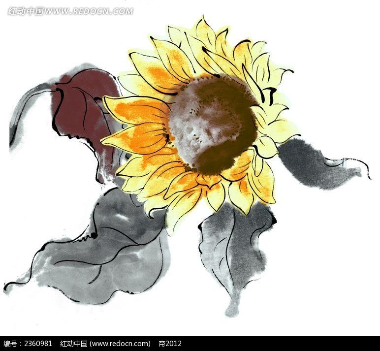 手绘向日葵与叶子