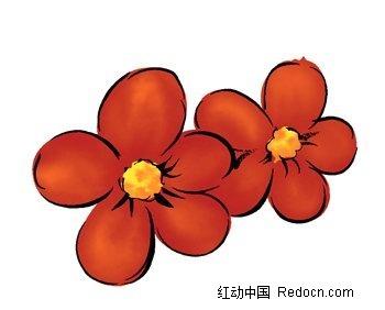 红色手绘五瓣花