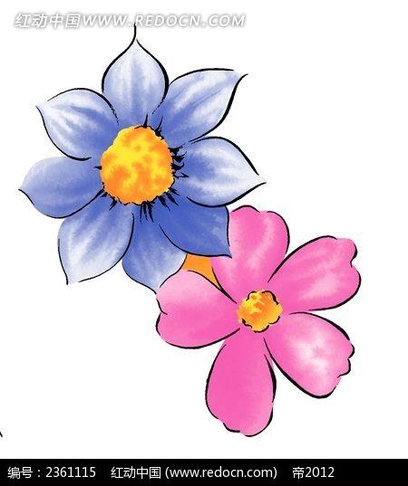 手绘蓝色花朵与粉色五瓣花