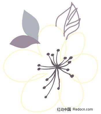 手绘花朵花瓣线稿插画