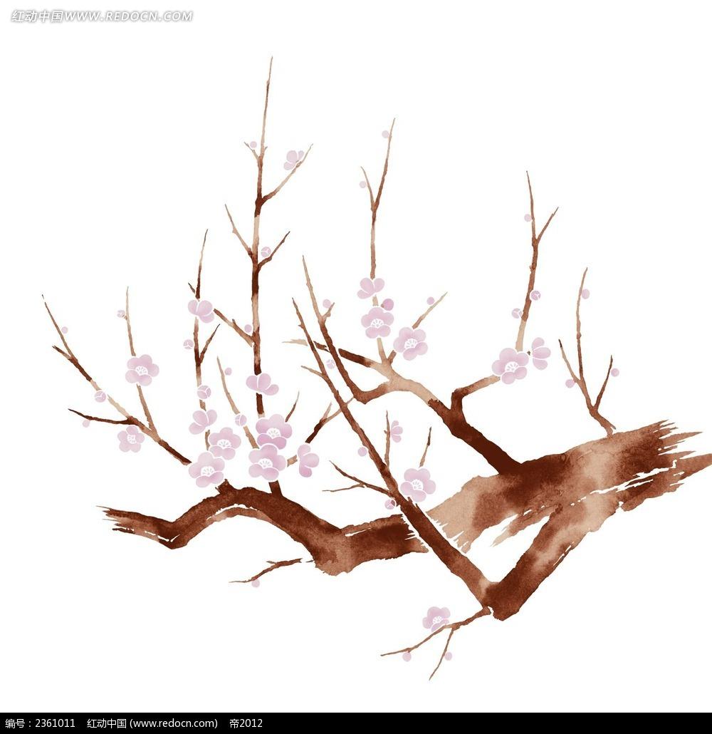 水彩梅花手绘素材