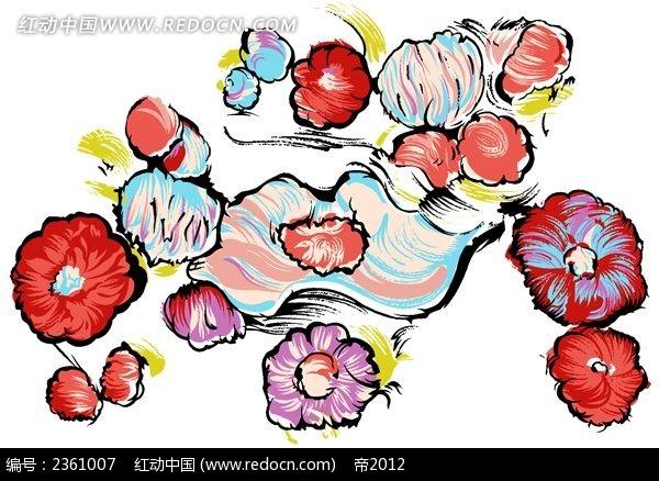 彩色手绘花朵设计素材图片