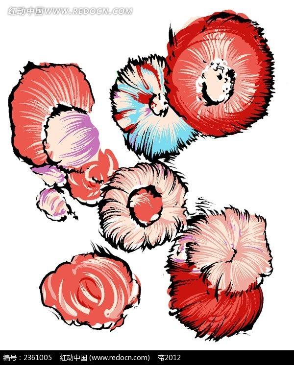 手绘彩色花朵素材