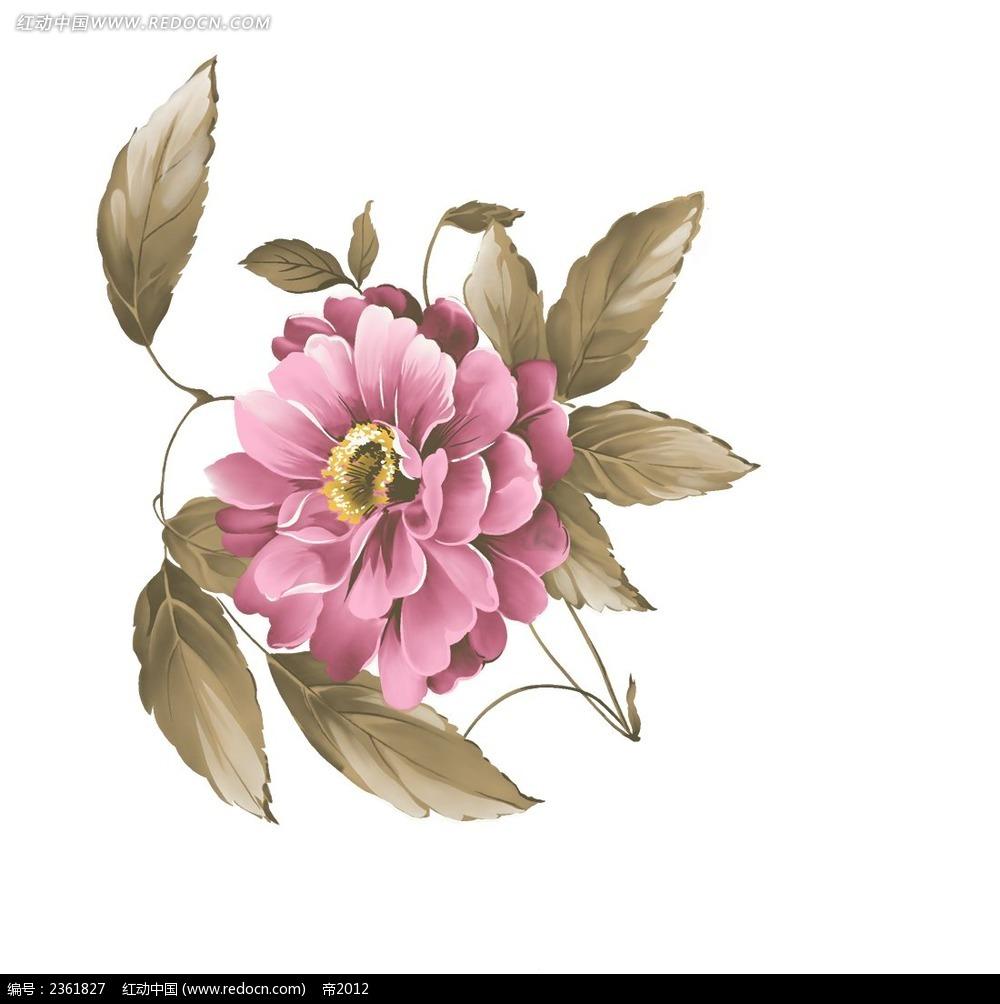 手绘枚红色牡丹花与叶子