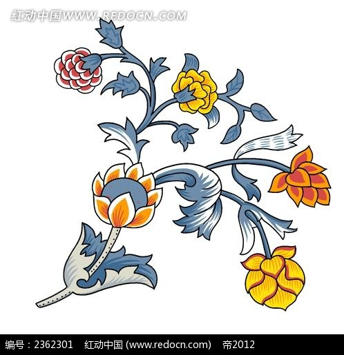 复古花卉装饰画psd免费下载_花纹花边素材