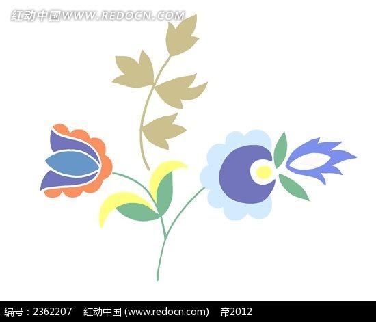 彩色花朵树叶素材图片