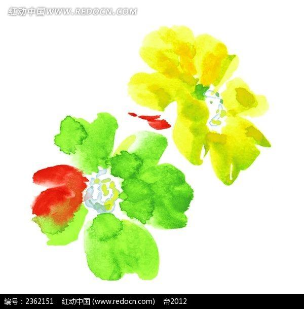 绿色手绘风格水彩插画