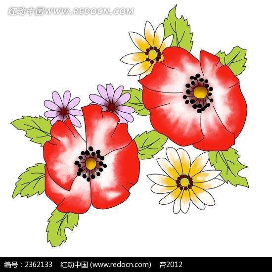 大红手绘花朵插图
