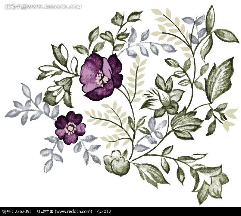 紫色花朵水彩手绘插画psd免费下载