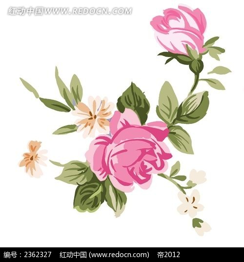 欧式玫瑰花手绘素材