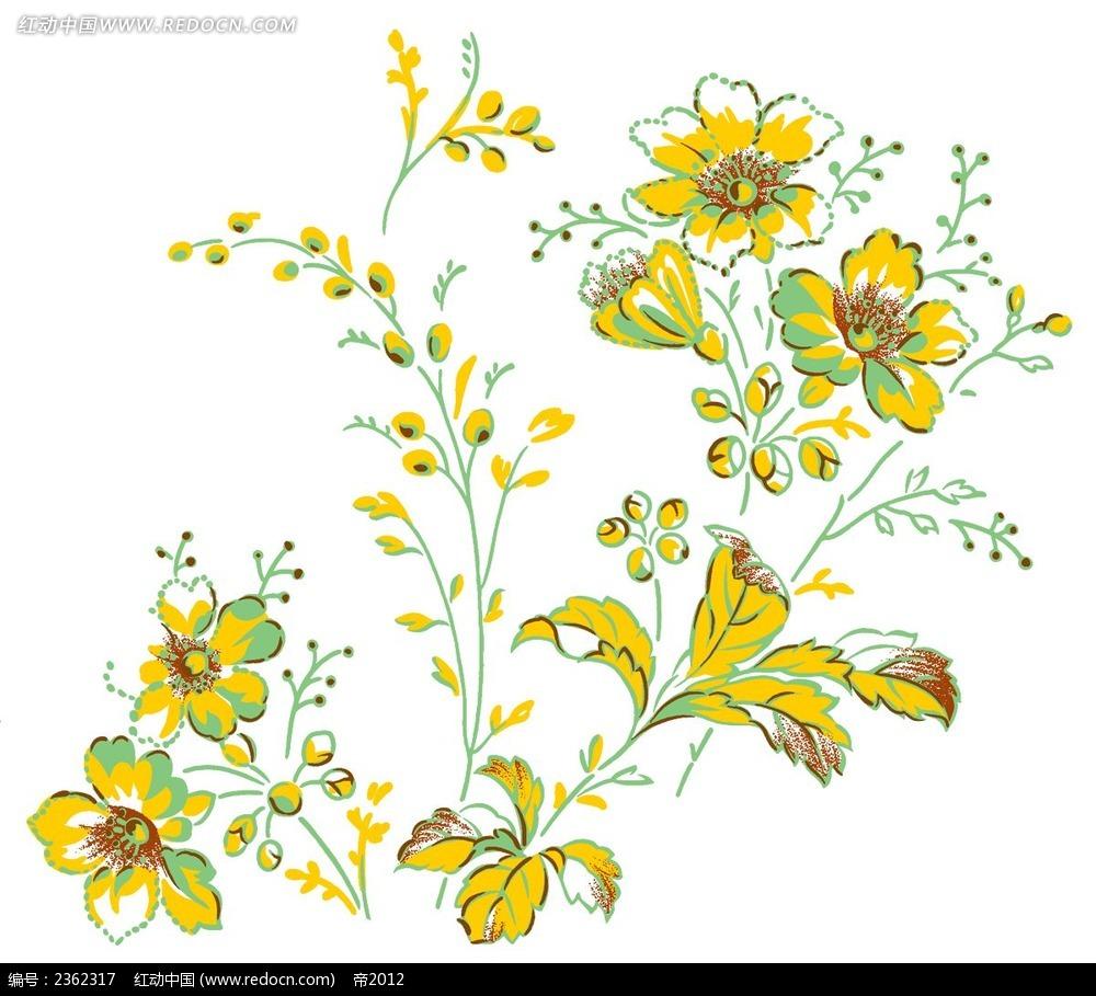 花纹素材 彩色花朵 手绘花朵素材 psd源文件 简笔画花朵素材 花卉