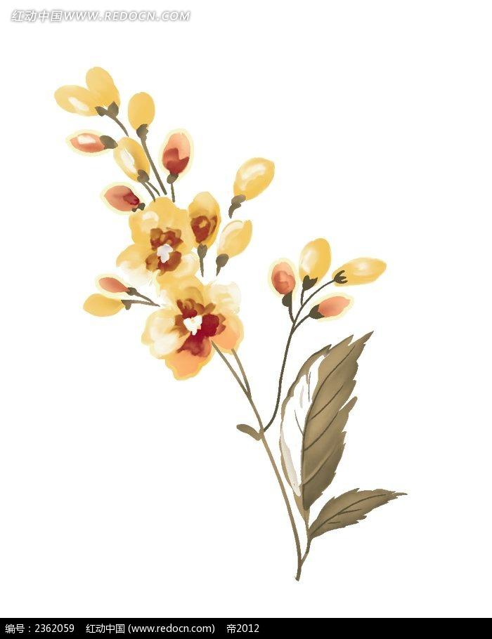 橘色花朵手绘水彩插画psd免费下载_花纹花边素材