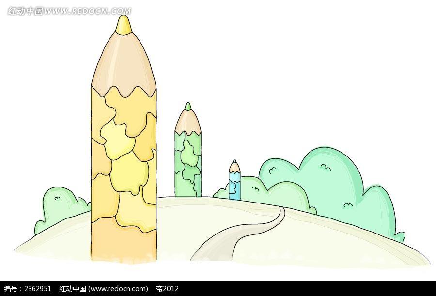 拼图铅笔手绘水彩物品漫画
