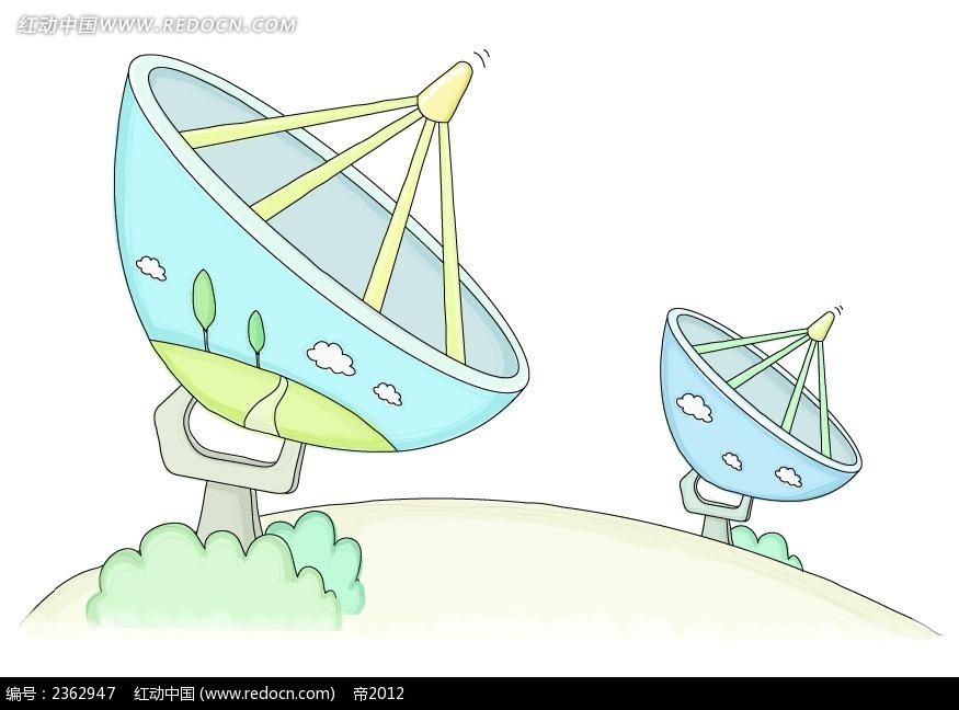 卫星接收器手绘水彩物品插画