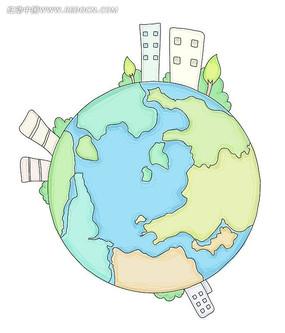 手绘彩色地球线条对话框组合卡片eps