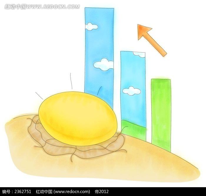 金蛋和柱状图 手绘水彩物品插图
