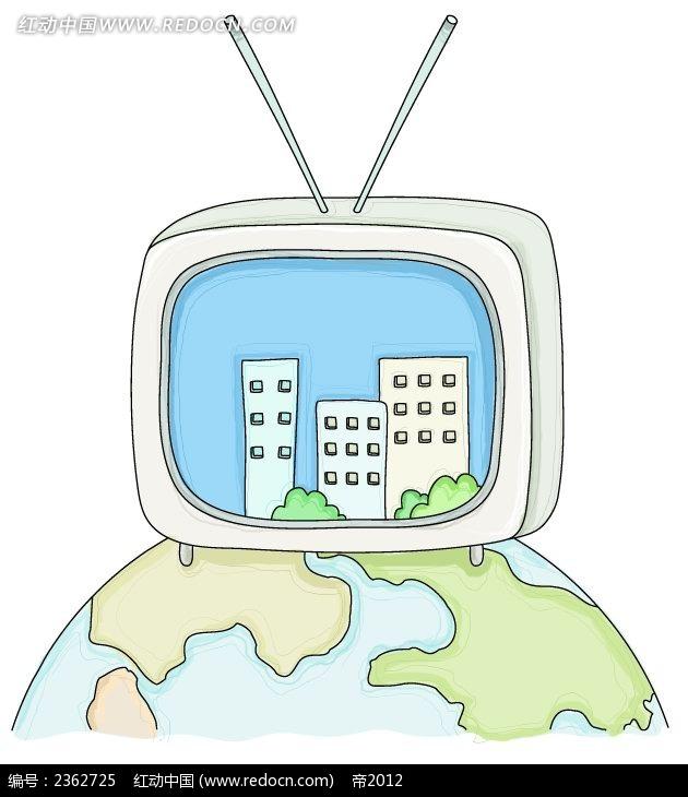 天线电视和地球手绘水彩物品插画