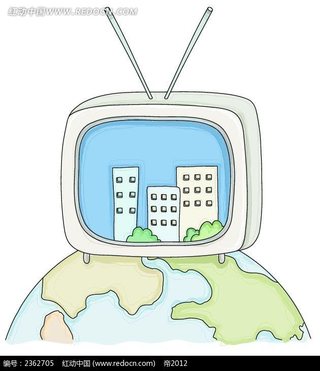 手绘电视机大楼地球