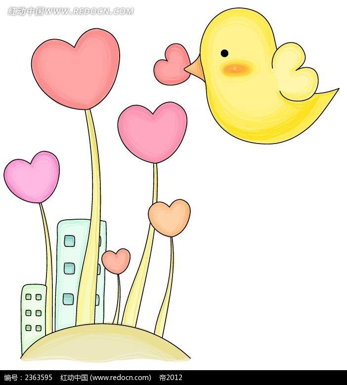 爱情花和小鸟手绘卡通插图