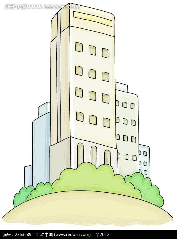 大楼物品手绘卡通插图