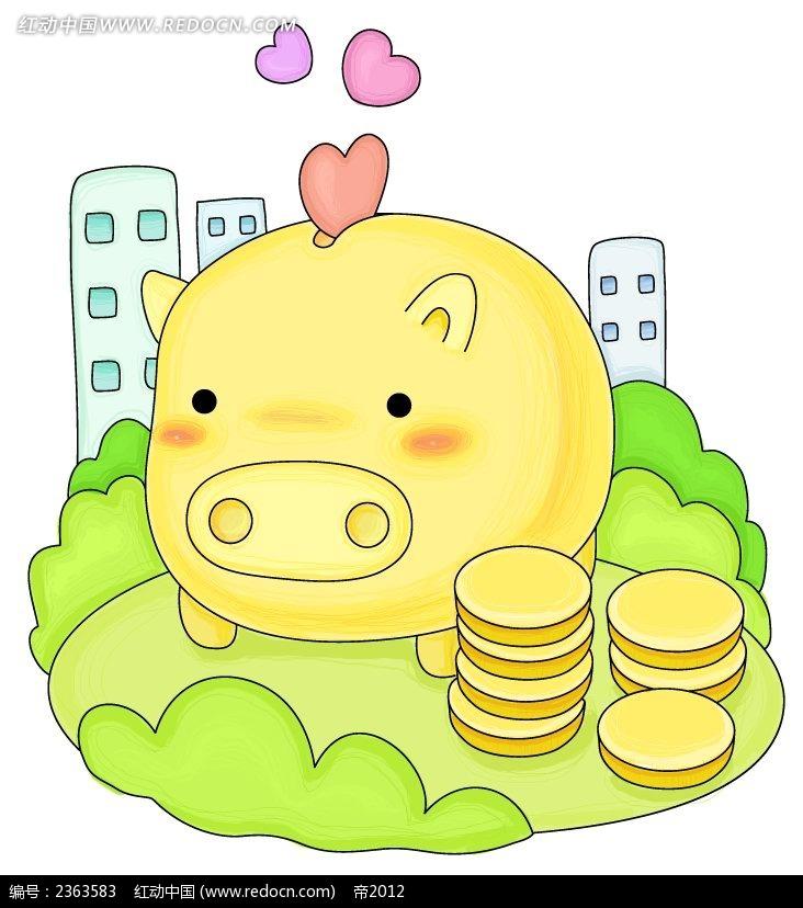 存钱小猪物品手绘卡通插图