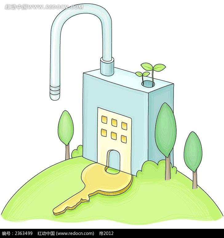 钥匙和锁手绘卡通物品插图psd免费下载_现代科技素材