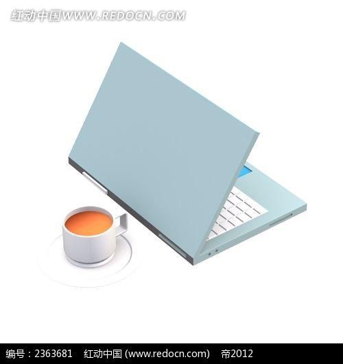 笔记本电脑和咖啡手绘水彩物品插图