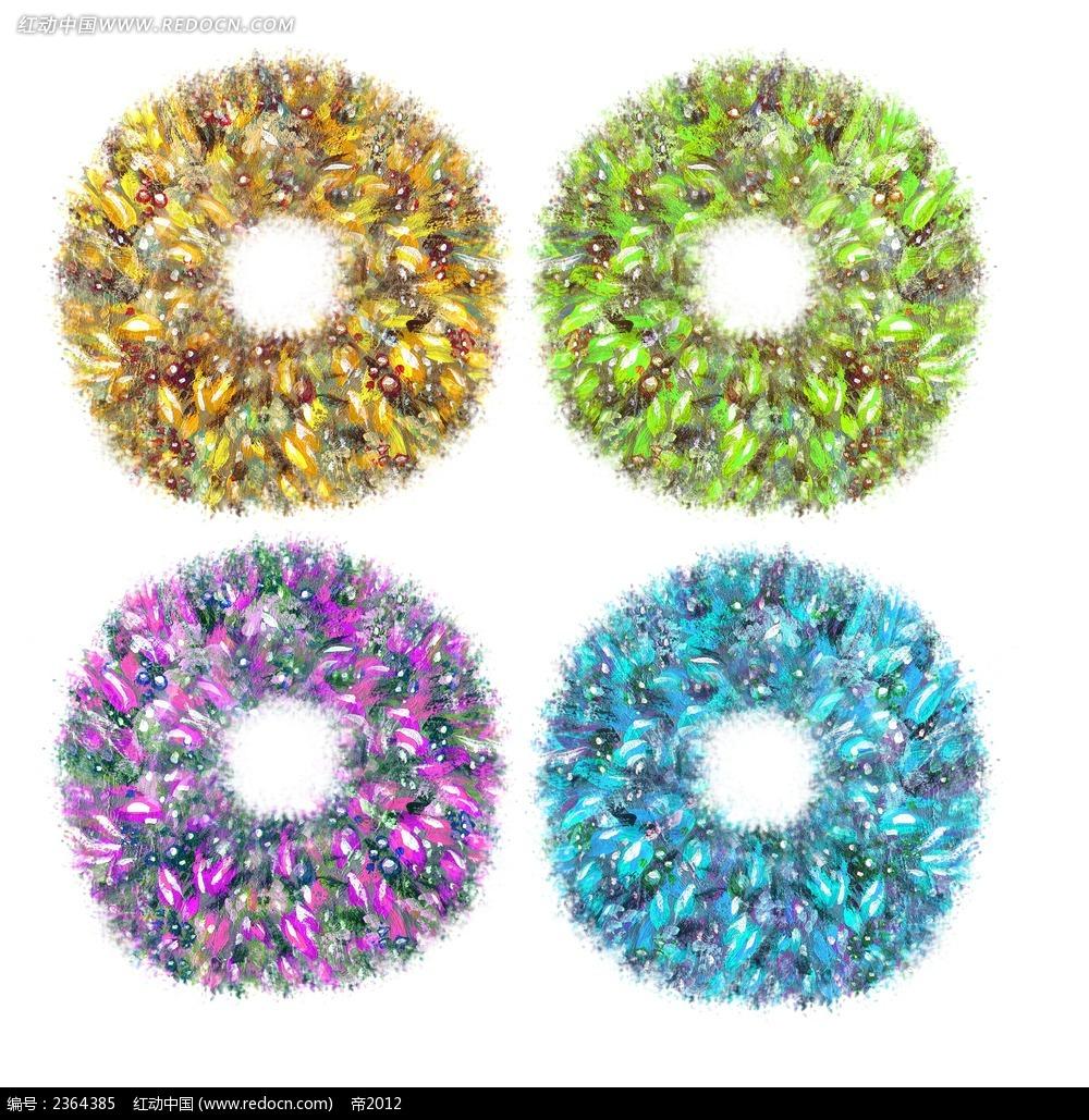 花圈圆形水彩画