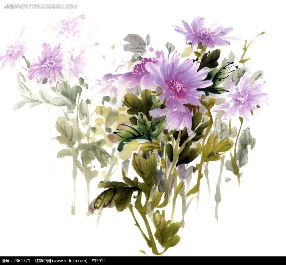 水墨紫色花素材 psd