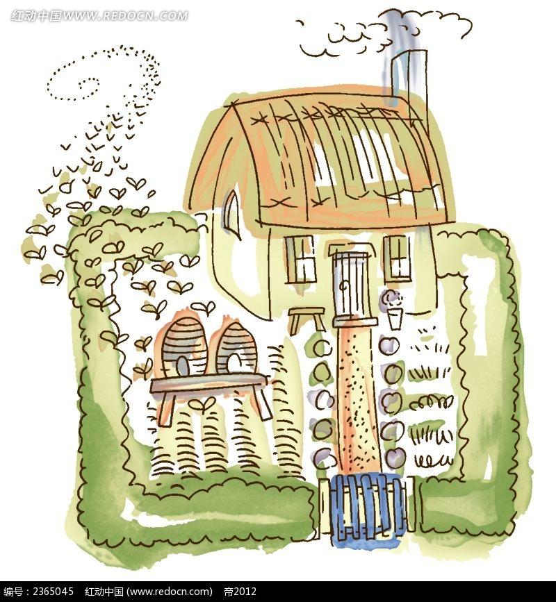 小房子手绘水彩插图
