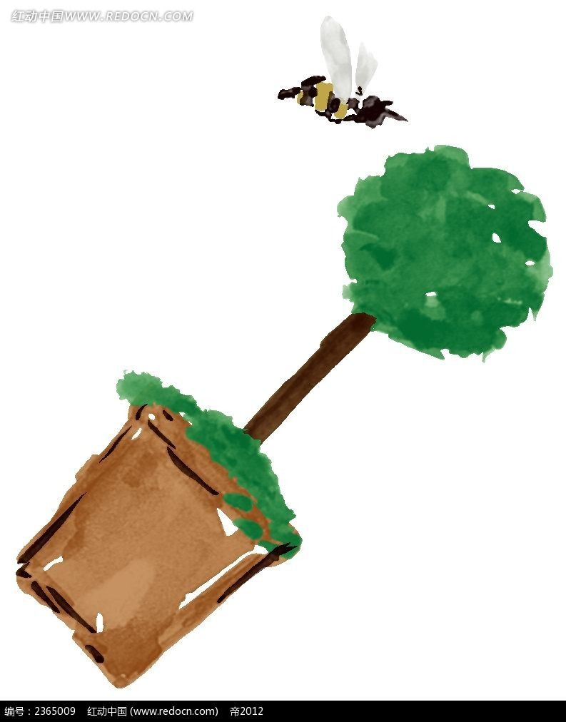 蜜蜂盆栽水粉手绘图