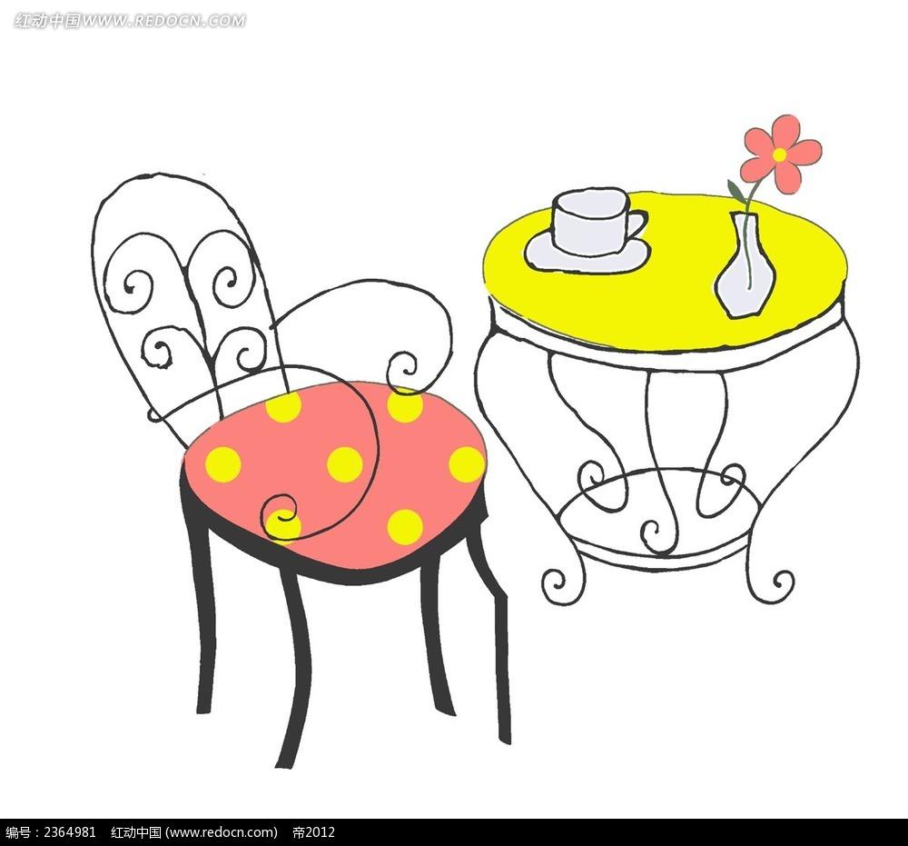 椅子和桌子线条随意水彩画
