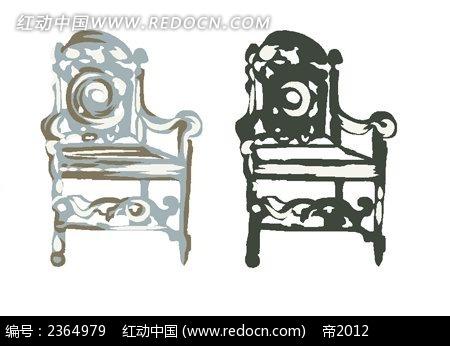 水粉手绘木质太师椅素材