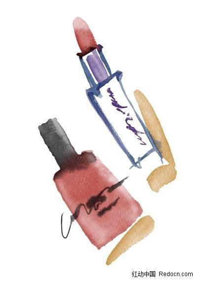 水粉手绘口红指甲油素材