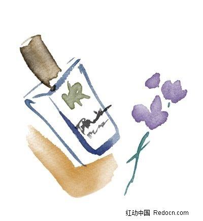 手绘水粉香水瓶素材图片
