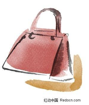 水粉手绘皮包素材