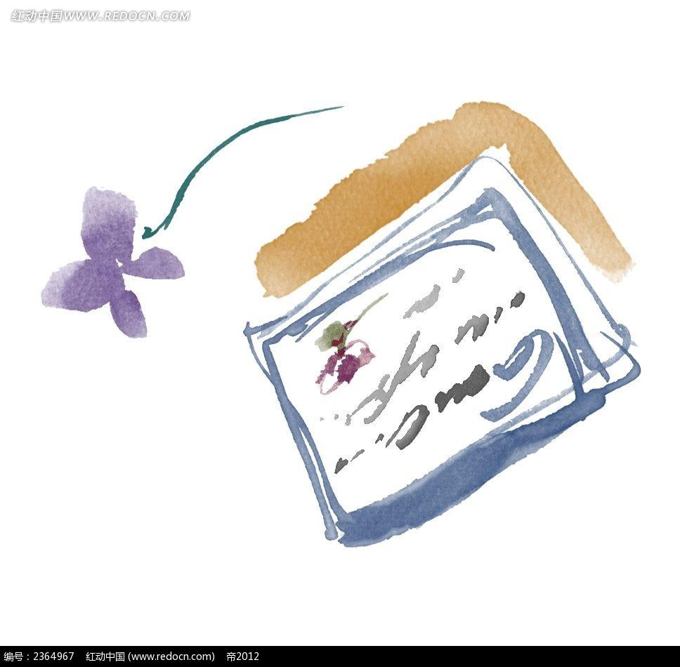 水粉手绘明信片素材