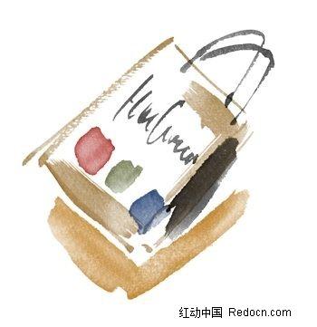 水粉手绘纸袋素材