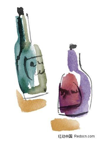 水粉手绘酒瓶素材