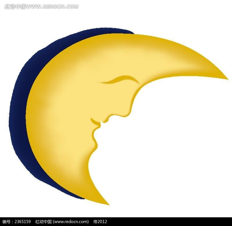 月亮手绘水彩物品漫画