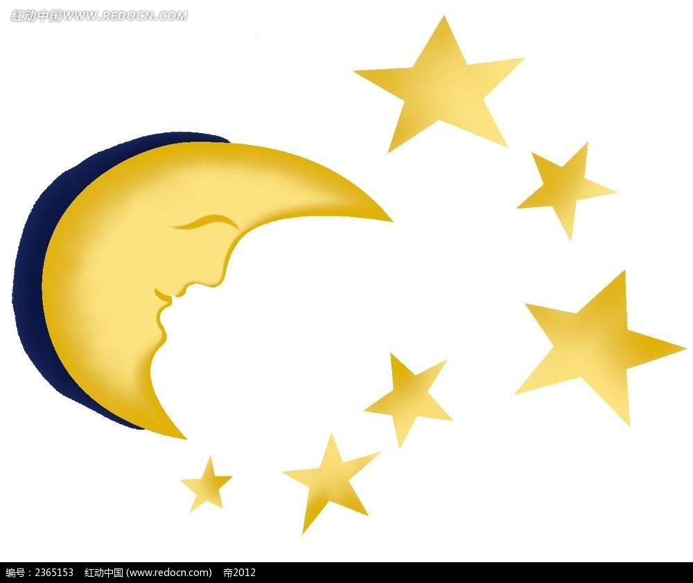 月亮和星星手绘水彩插画