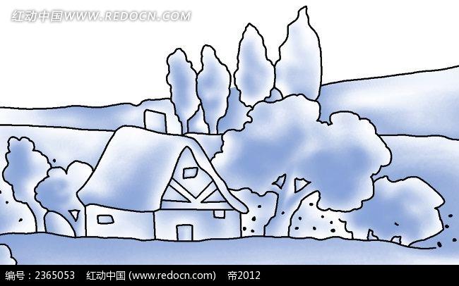 蓝色小屋子手绘水彩风景插图
