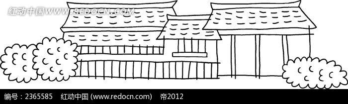 古代房屋简笔画素材