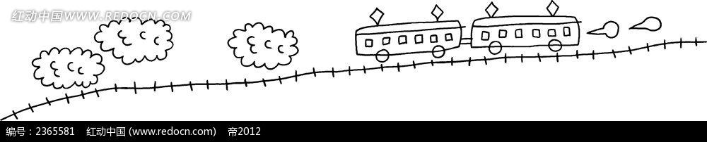 小火车简笔画素材
