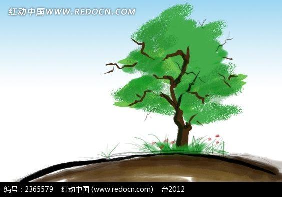 绿色树水彩简笔画素材