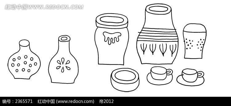 各式罐子简笔画素材