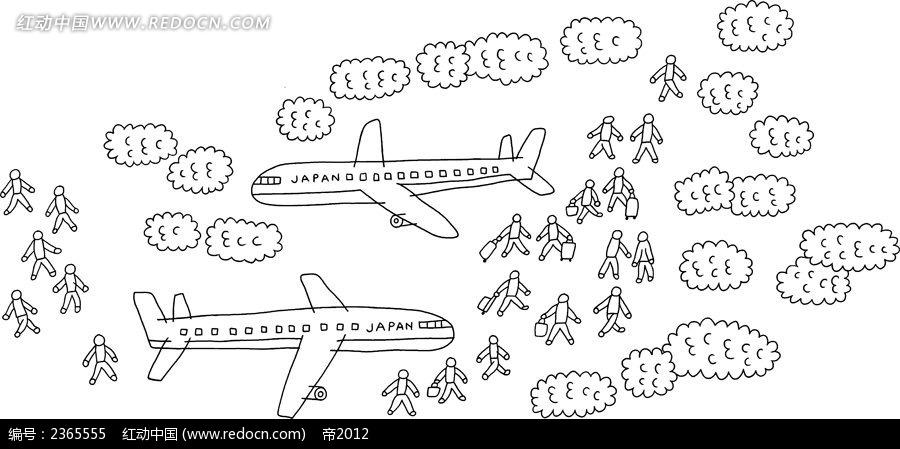飞机和小人简笔画素材